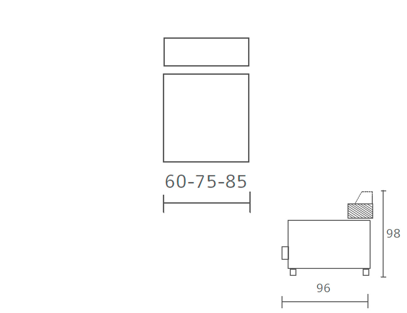 Modulo 1 plaza sin brazo fijo 60 75 85