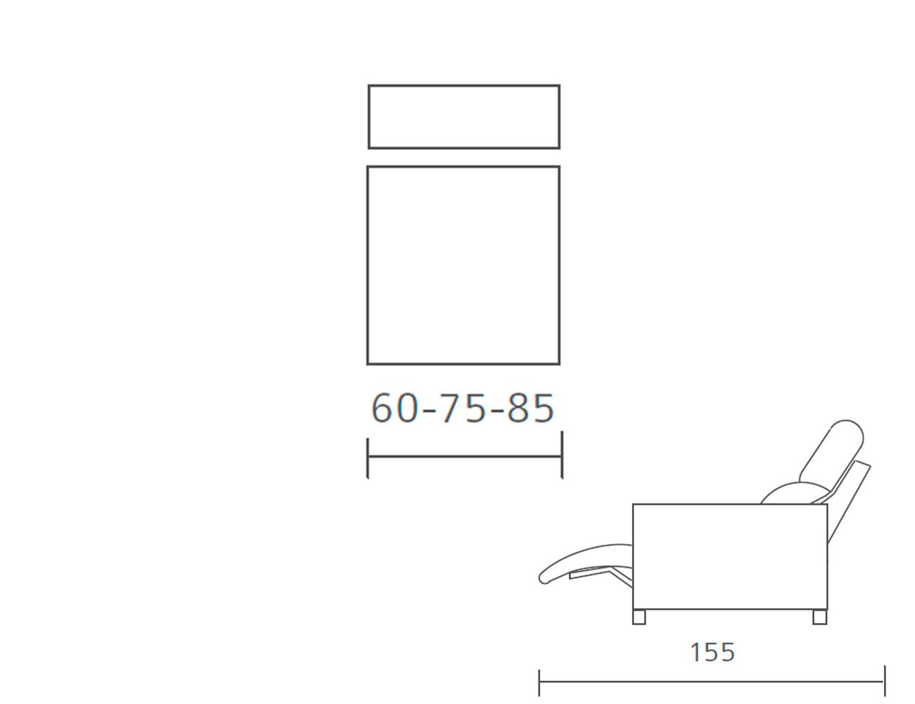 Modulo 1 plaza sin brazo relax motor 60 75 85