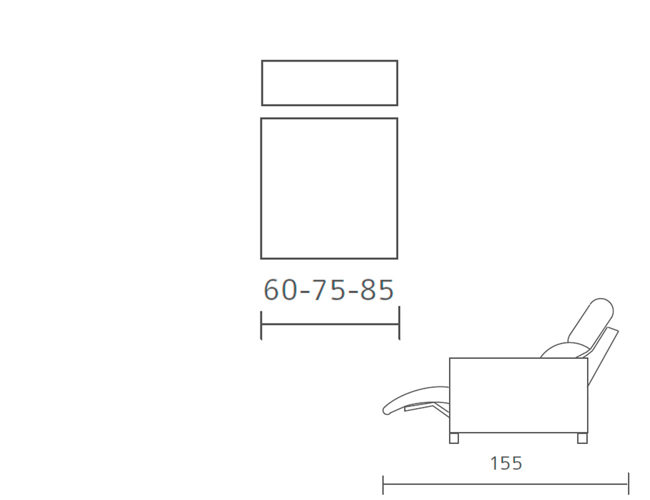 Modulo 1 plaza sin brazo relax motor 60 75 8513