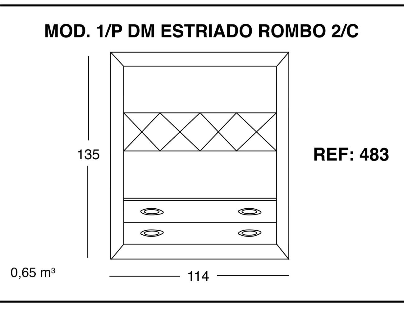 Modulo 1 puerta dm estriado rombo 2 cajones