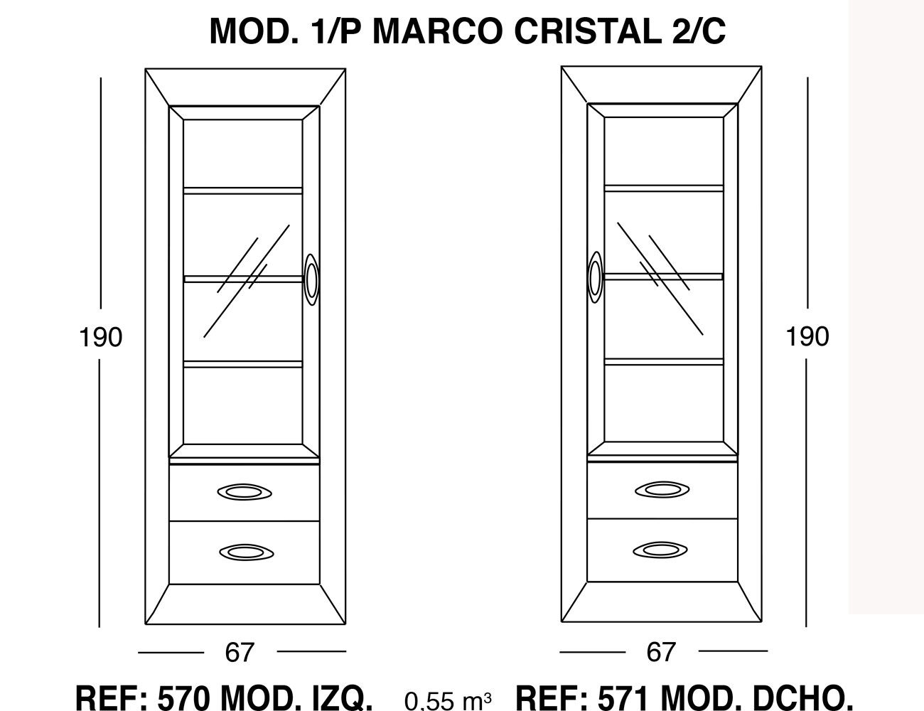 Modulo 1 puerta marco cristal 2 cajones