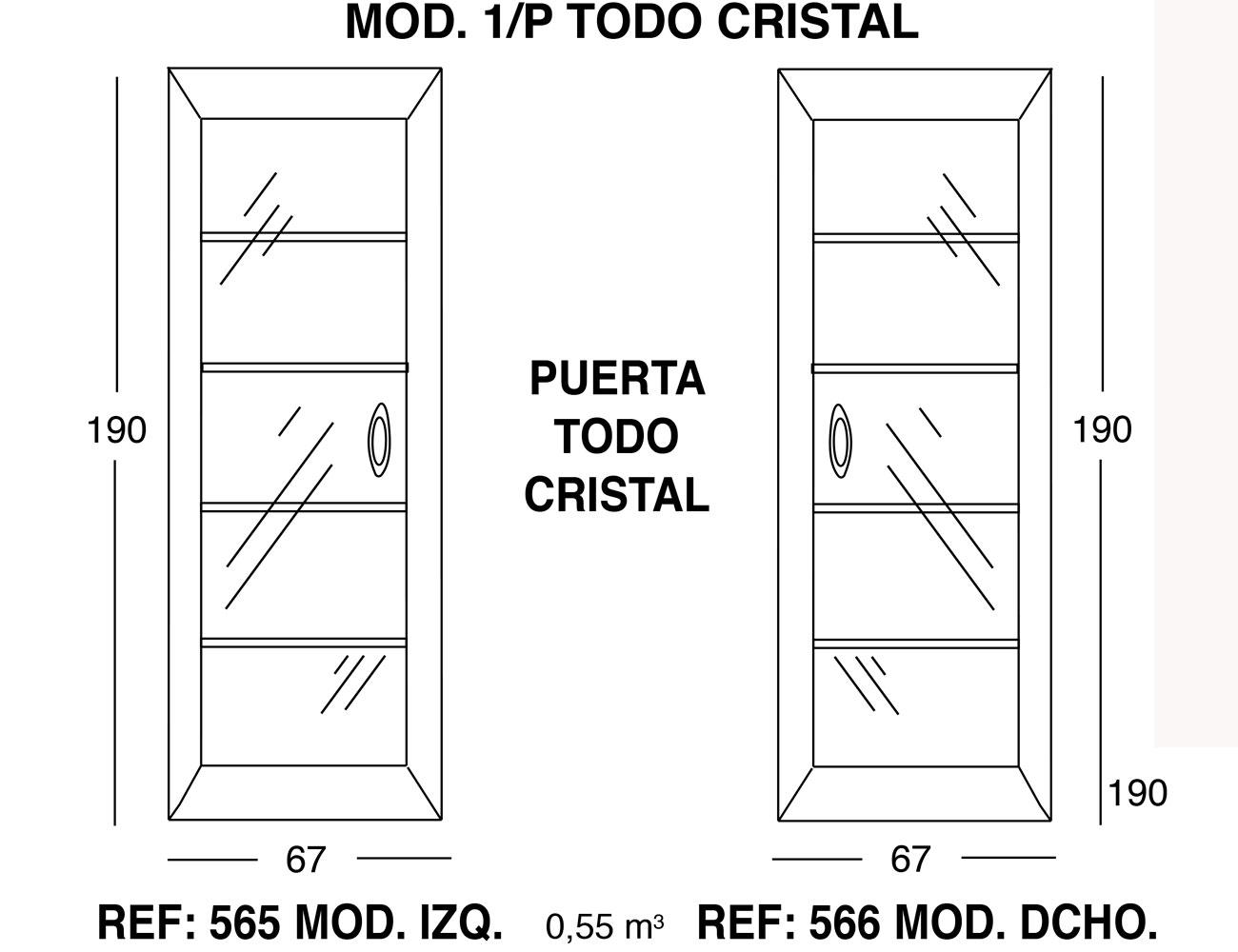 Modulo 1 puerta todo cristal 190 67