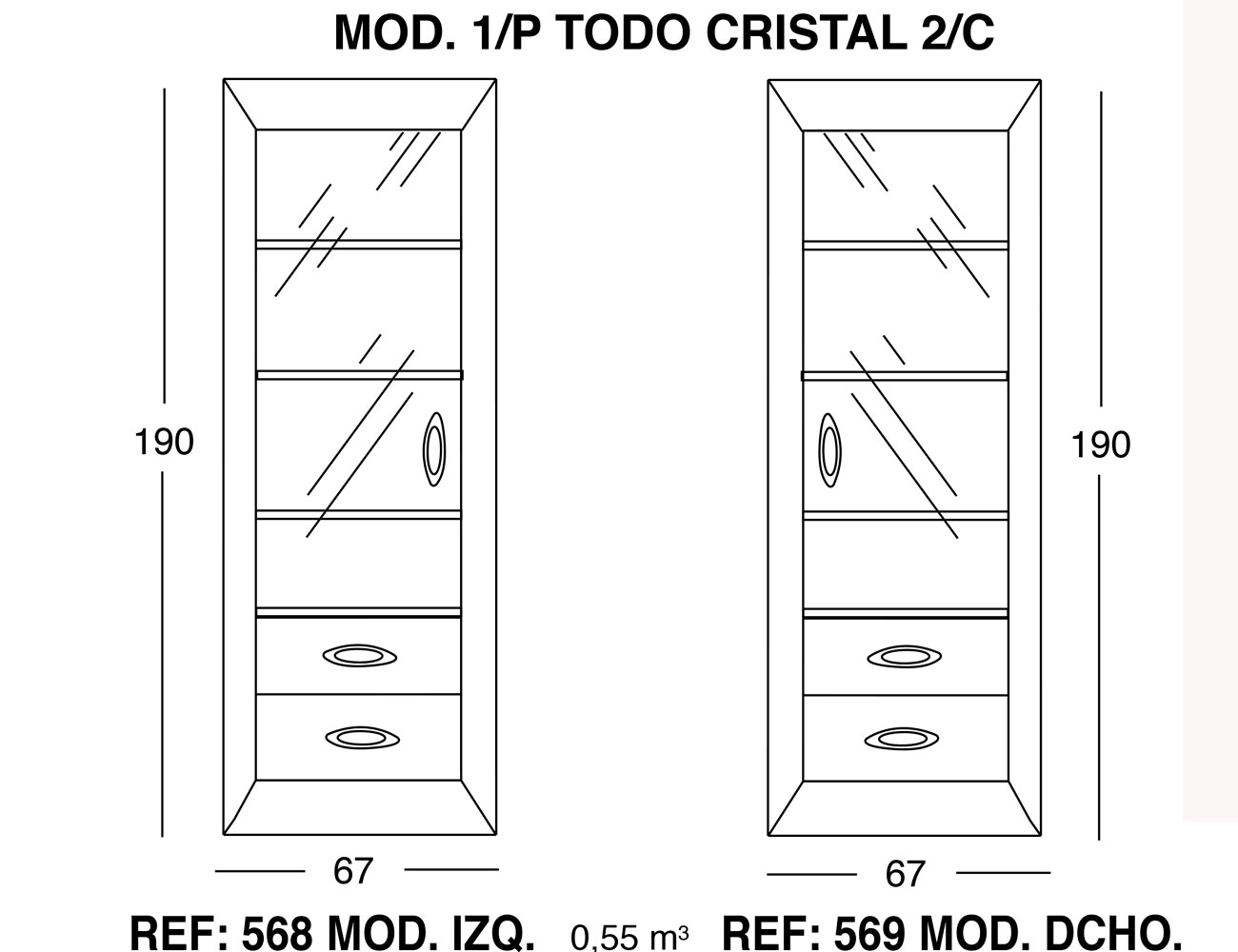 Modulo 1 puerta todo cristal 2 cajones1