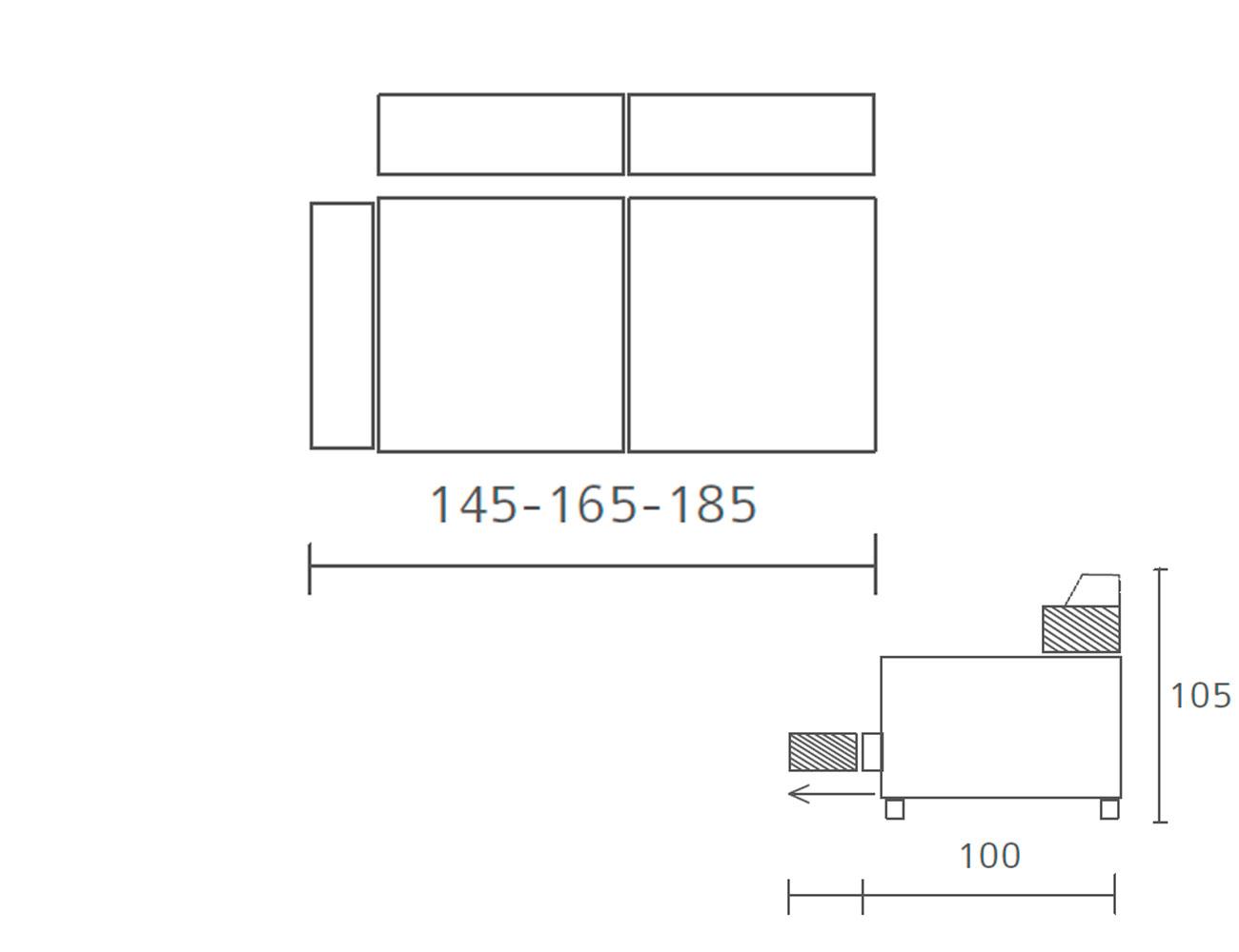 Modulo 2 plazas con 1 brazo 145 185 185