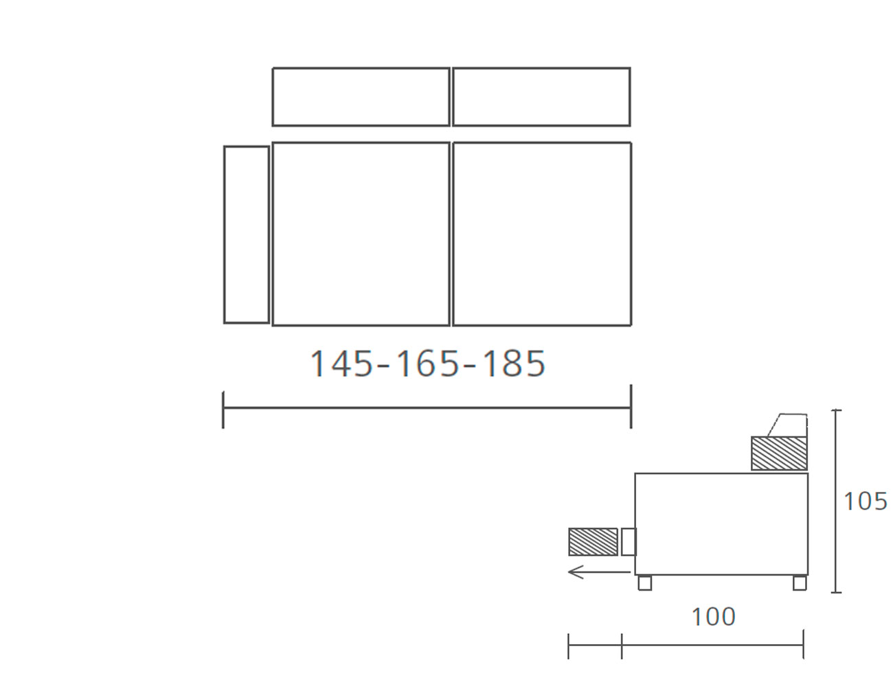 Modulo 2 plazas con 1 brazo 145 185 1851