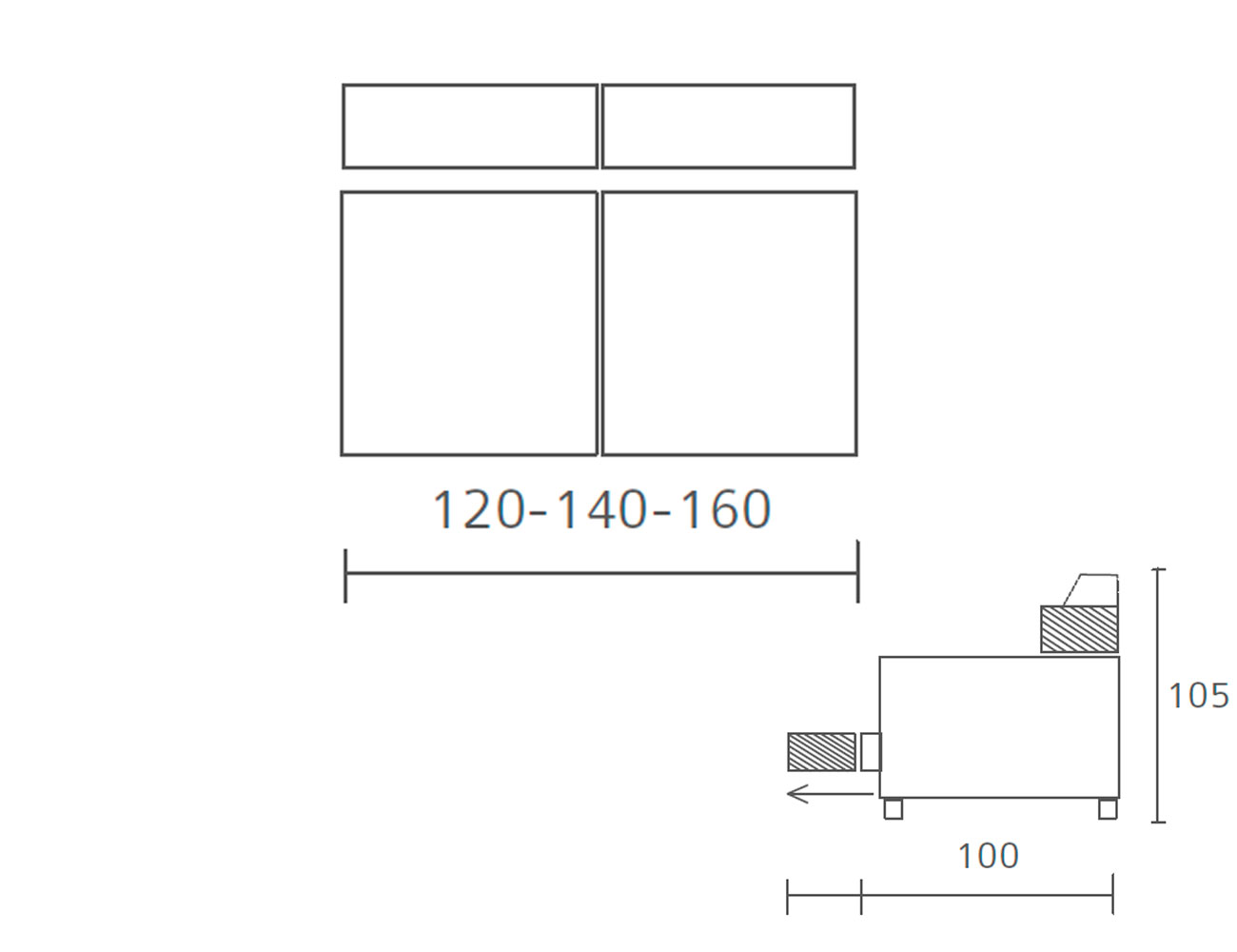 Modulo 2 plazas sin brazos 120 140 1604