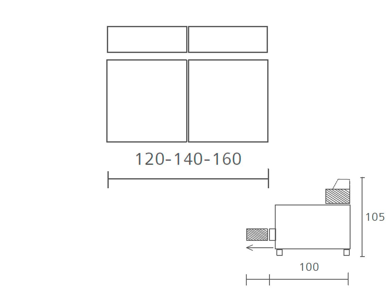 Modulo 2 plazas sin brazos 120 140 1605