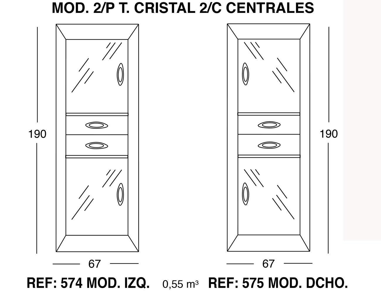 Modulo 2 puertas cristal 2 cajones centrales