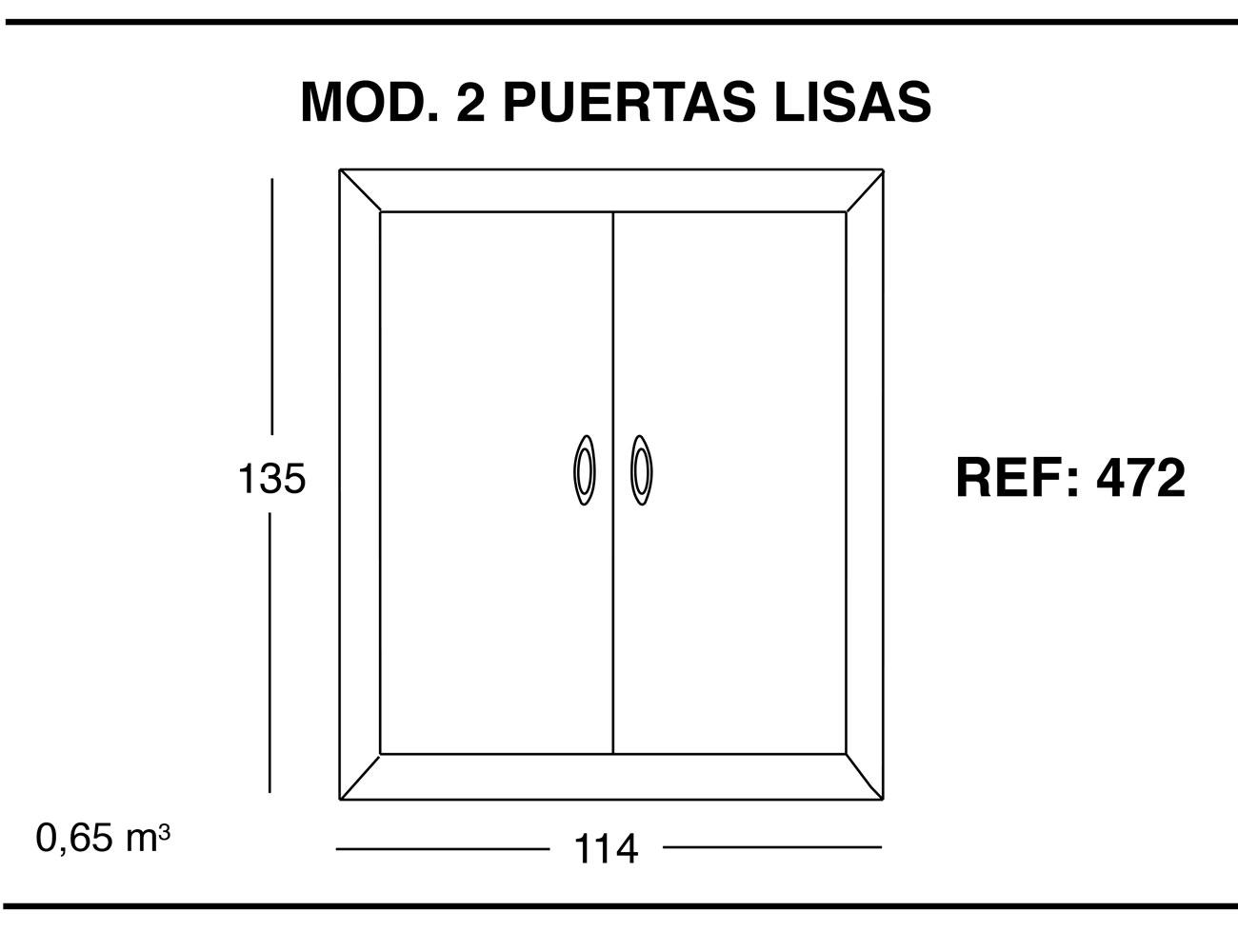 Modulo 2 puertas lisas 135 114