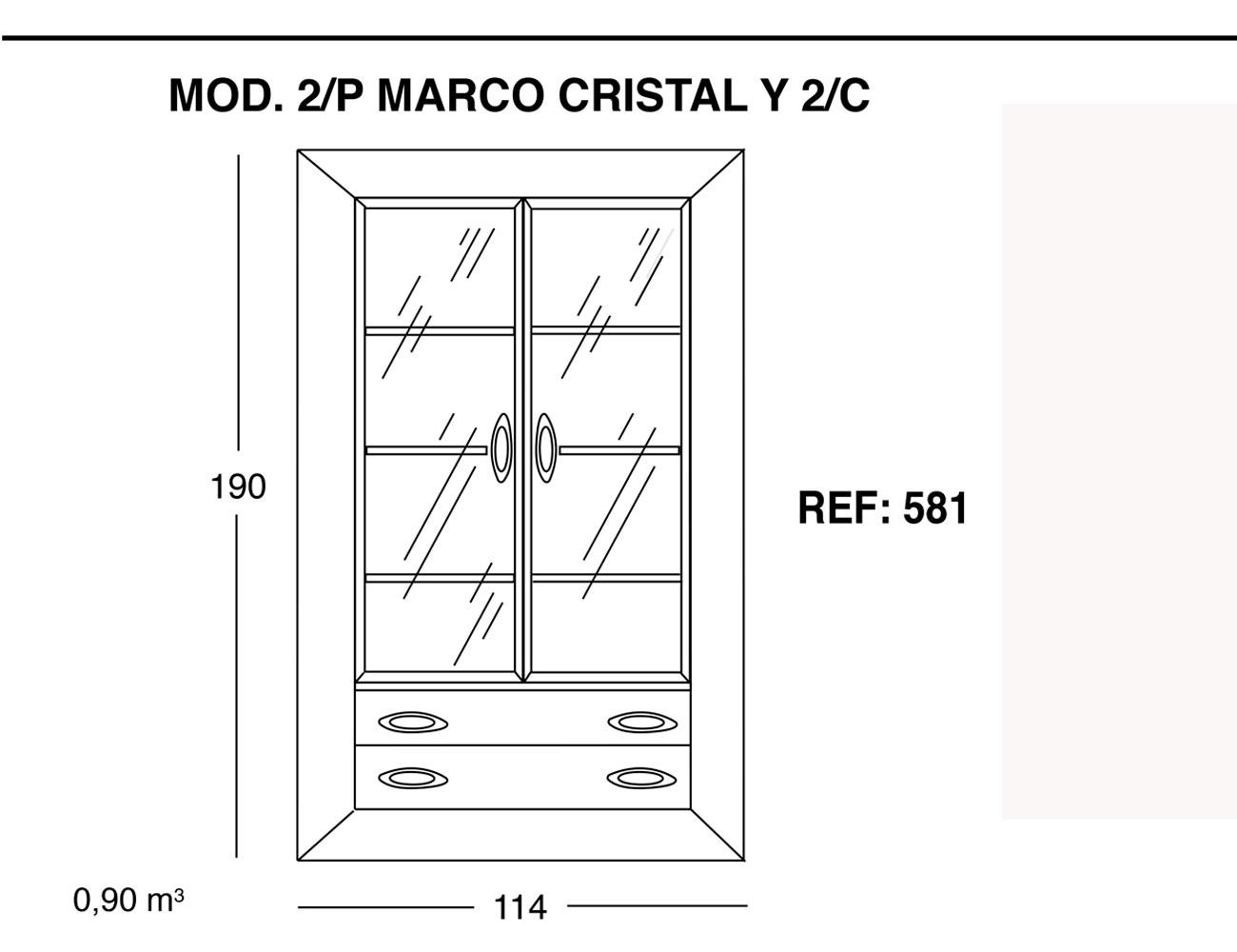 Modulo 2 puertas marco cristal 2 cajones 190 114