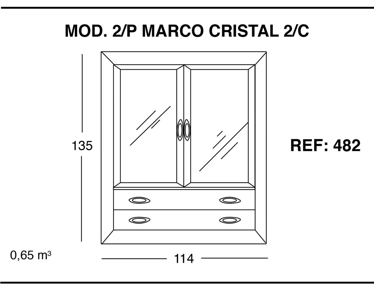 Modulo 2 puertas marco cristal 2 cajones1
