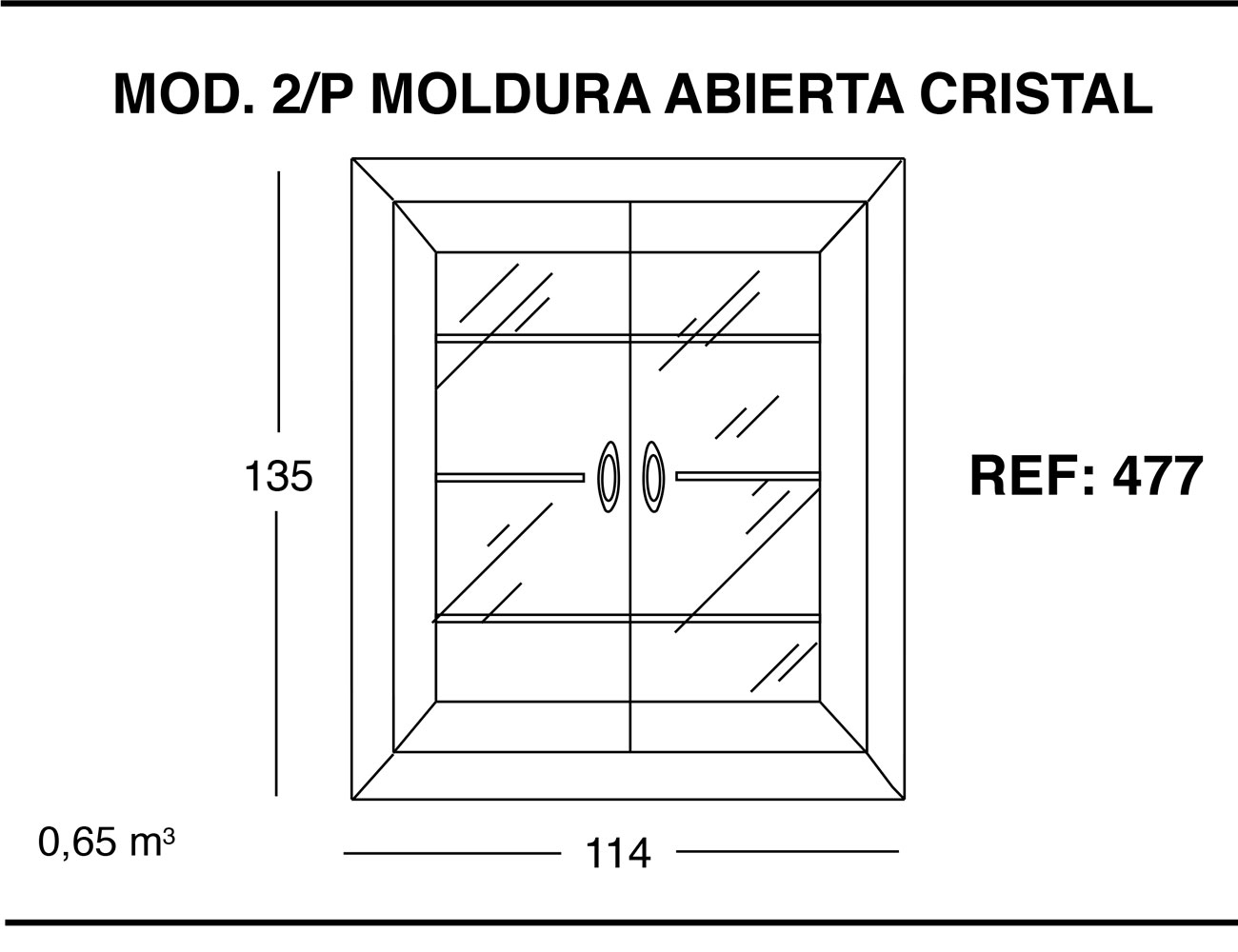 Modulo 2 puertas moldura abierta cristal