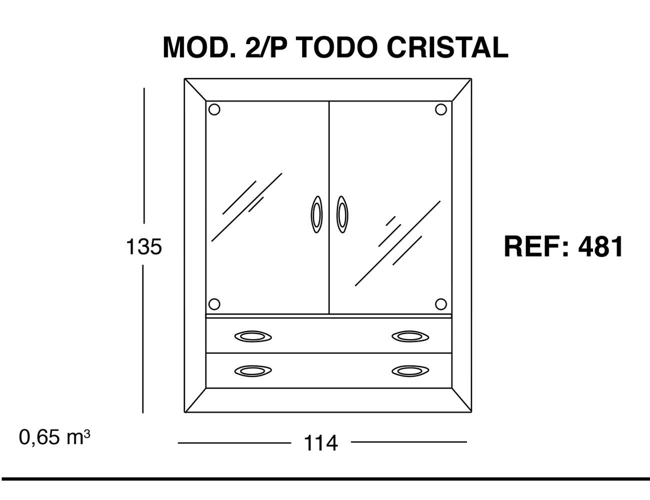 Modulo 2 puertas todo cristal 135 114