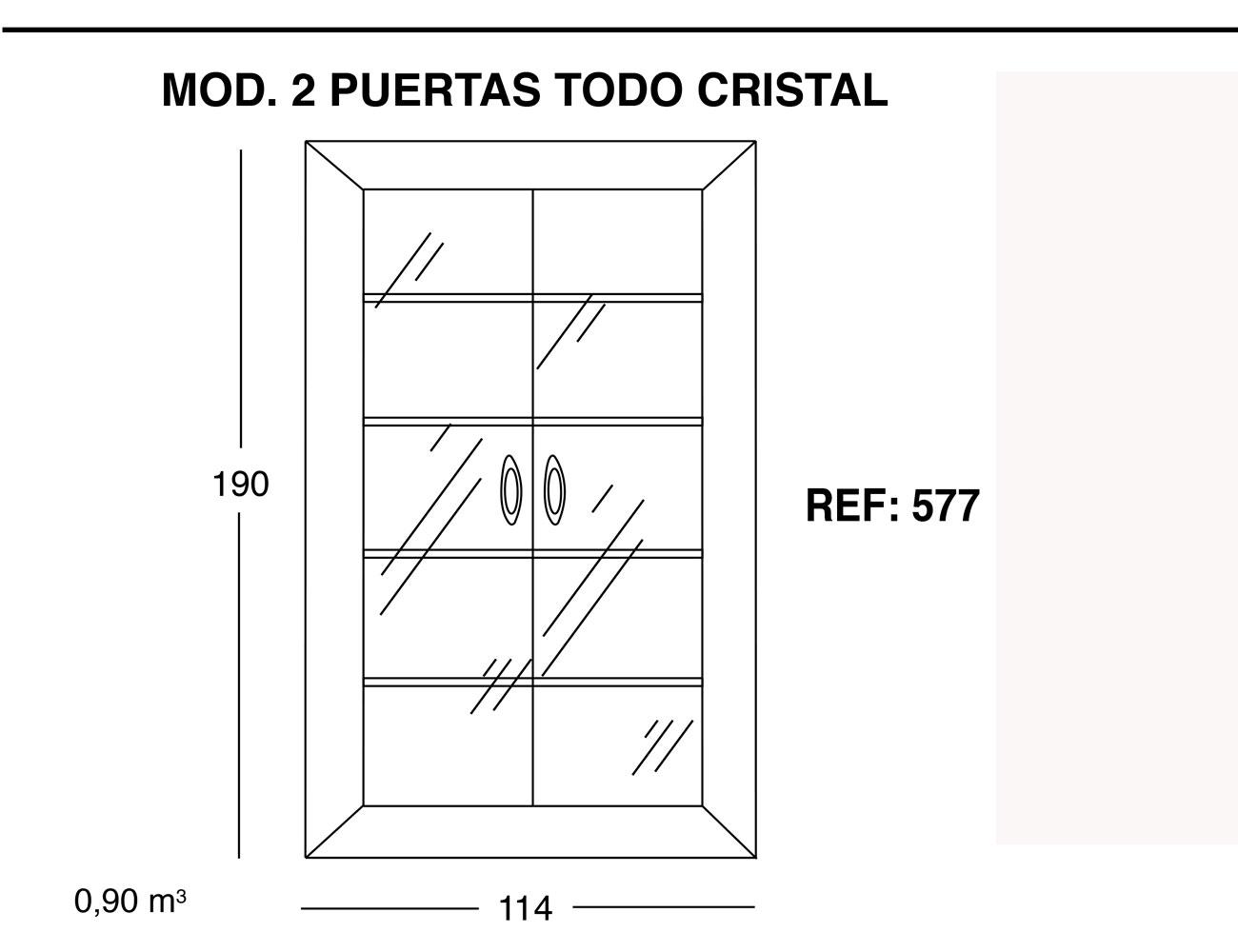 Modulo 2 puertas todo cristal 190 114