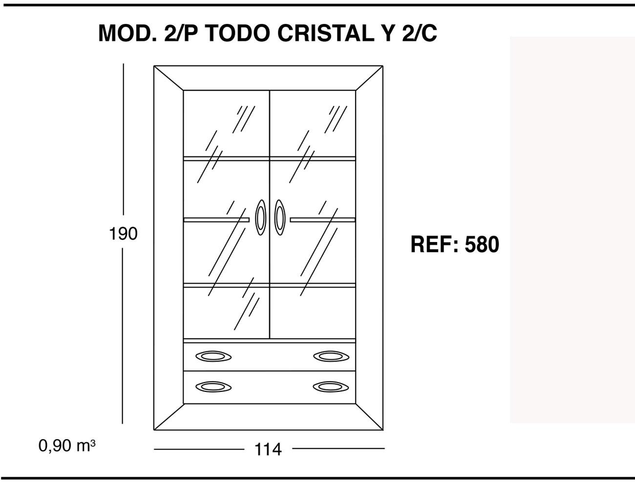 Modulo 2 puertas todo cristal 2 cajones 190 114