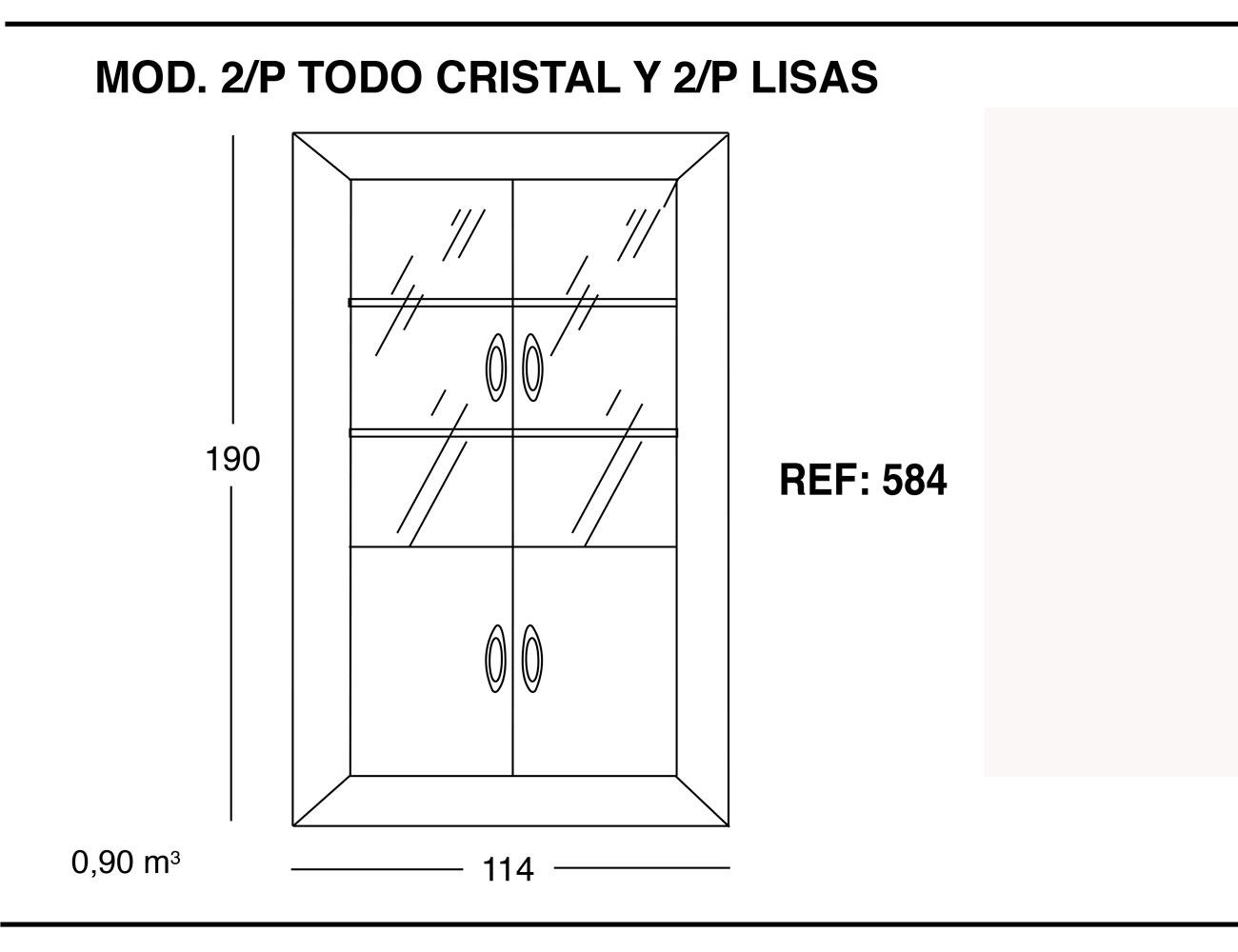 Modulo 2 puertas todo cristal 2p lisas 190 114