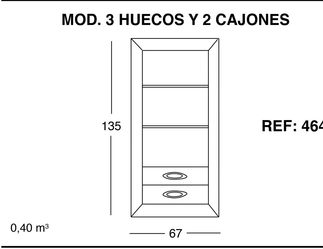 Modulo 3 huecos 2 cajones