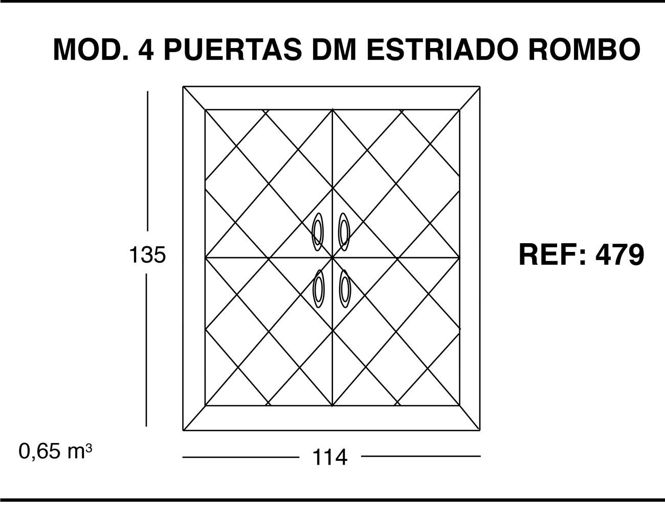 Modulo 4 puertas dm estriado rombo