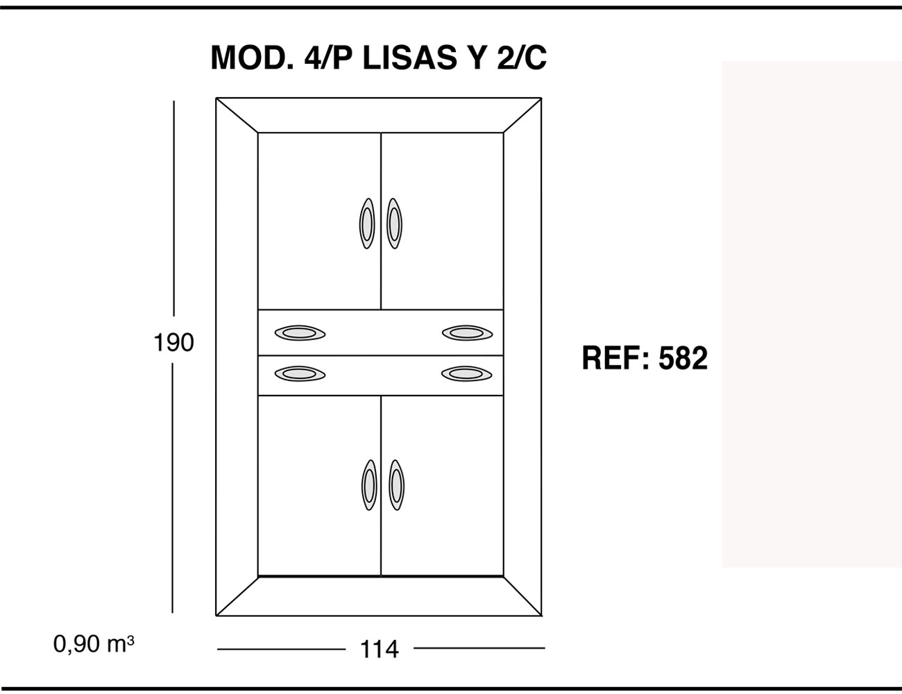 Modulo 4 puertas lisas 2 cajones 190 114