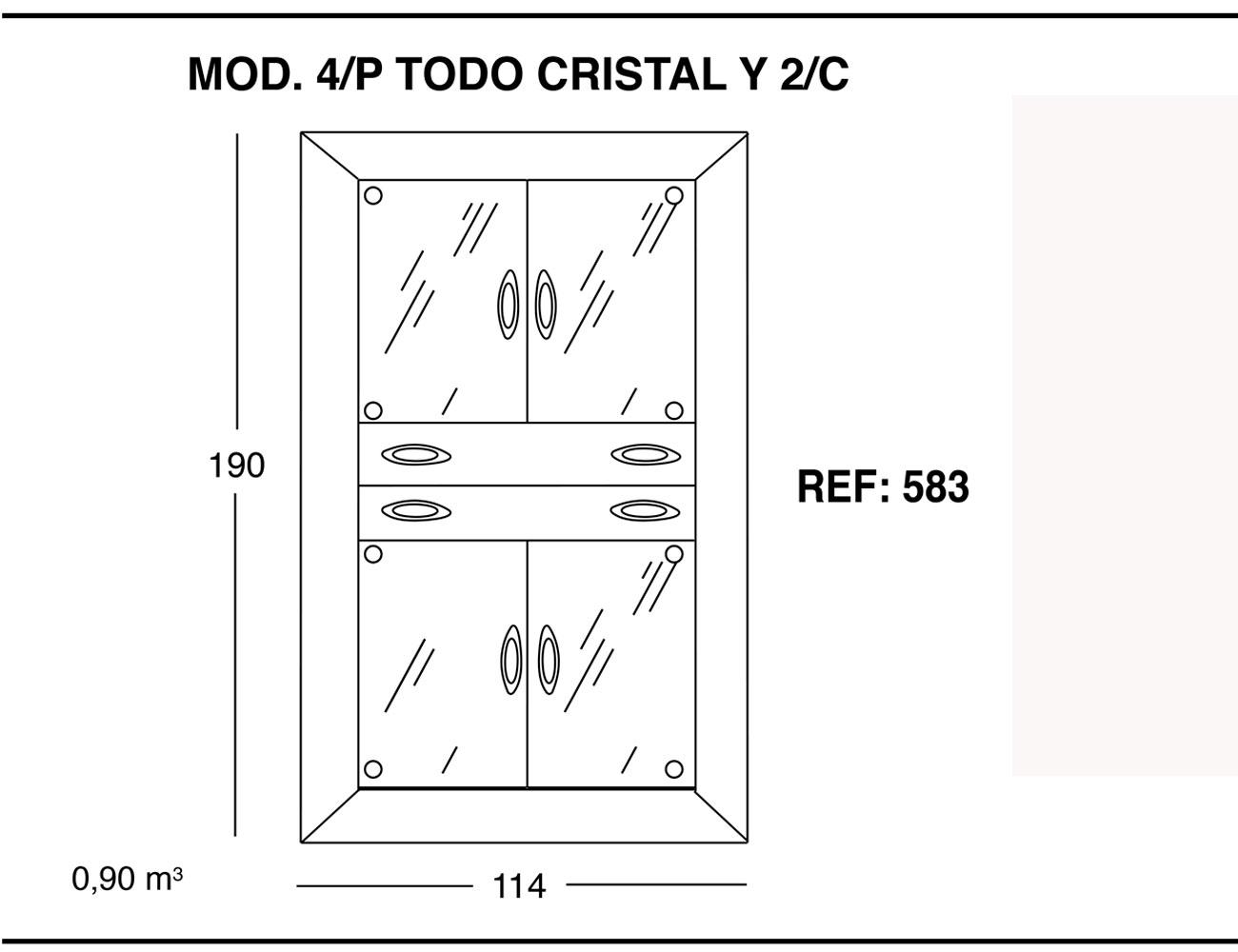 Modulo 4 puertas todo cristal 2 cajones 190 1141