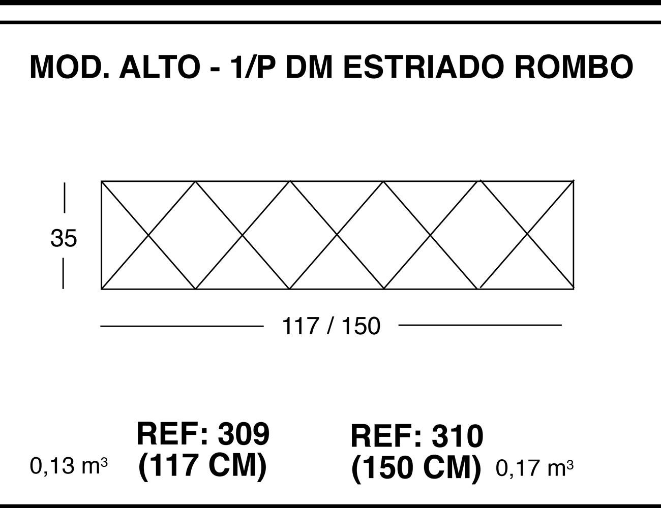 Modulo alto 1p dm estriado rombo1