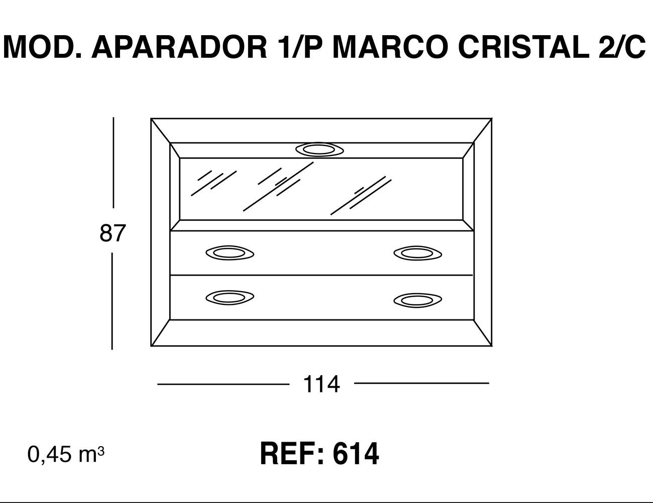 Modulo aparador 1p marco cristal 2 cajones 87 114