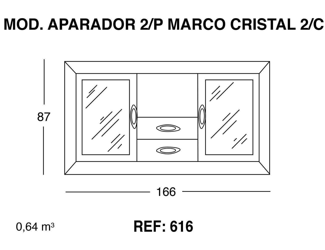Modulo aparador 2p marco cristal 2 cajones