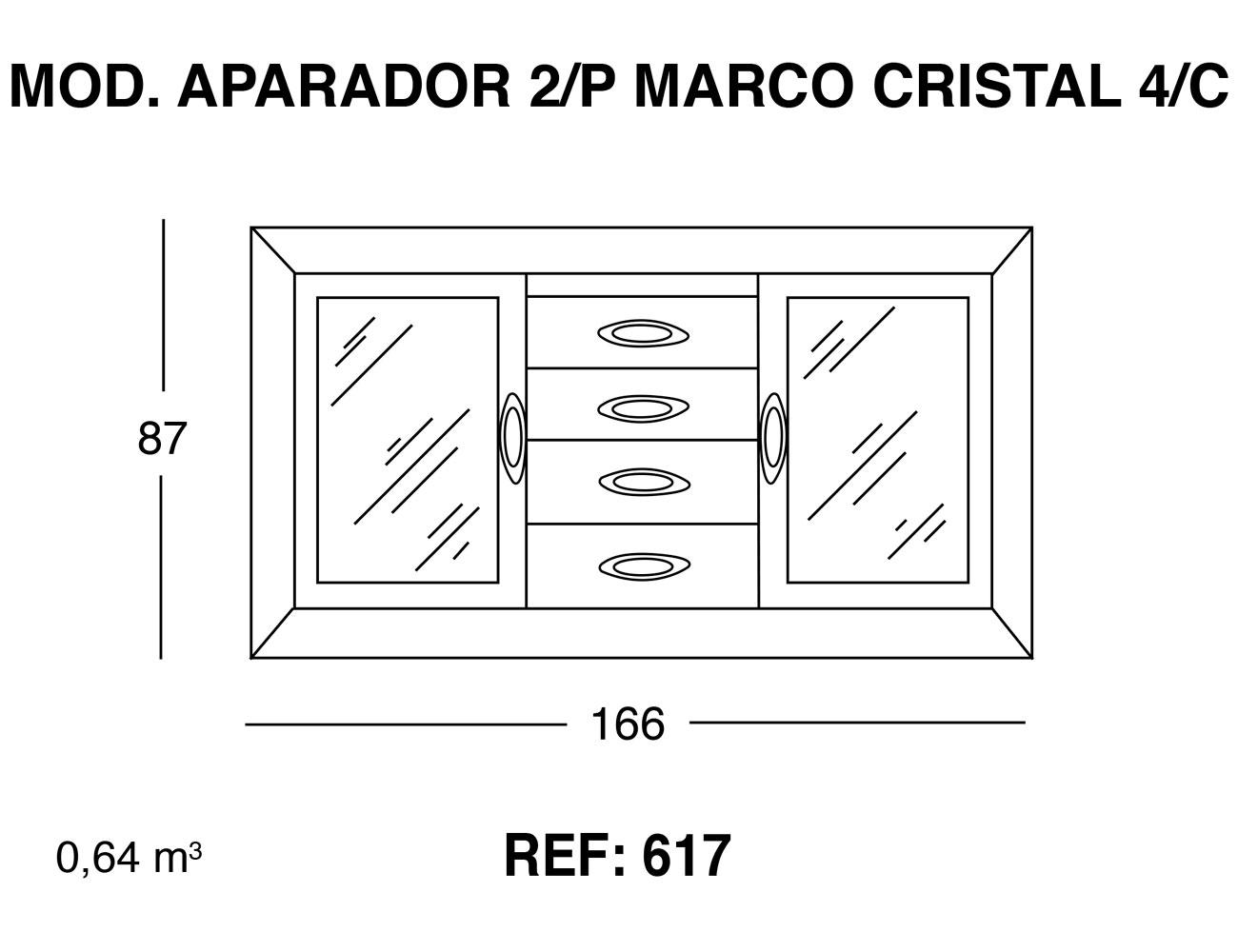 Modulo aparador 2p marco cristal 4 cajones