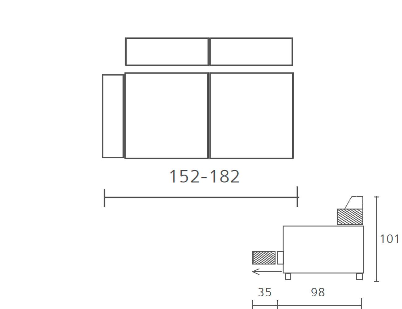 Modulo con 1 brazo 152 182