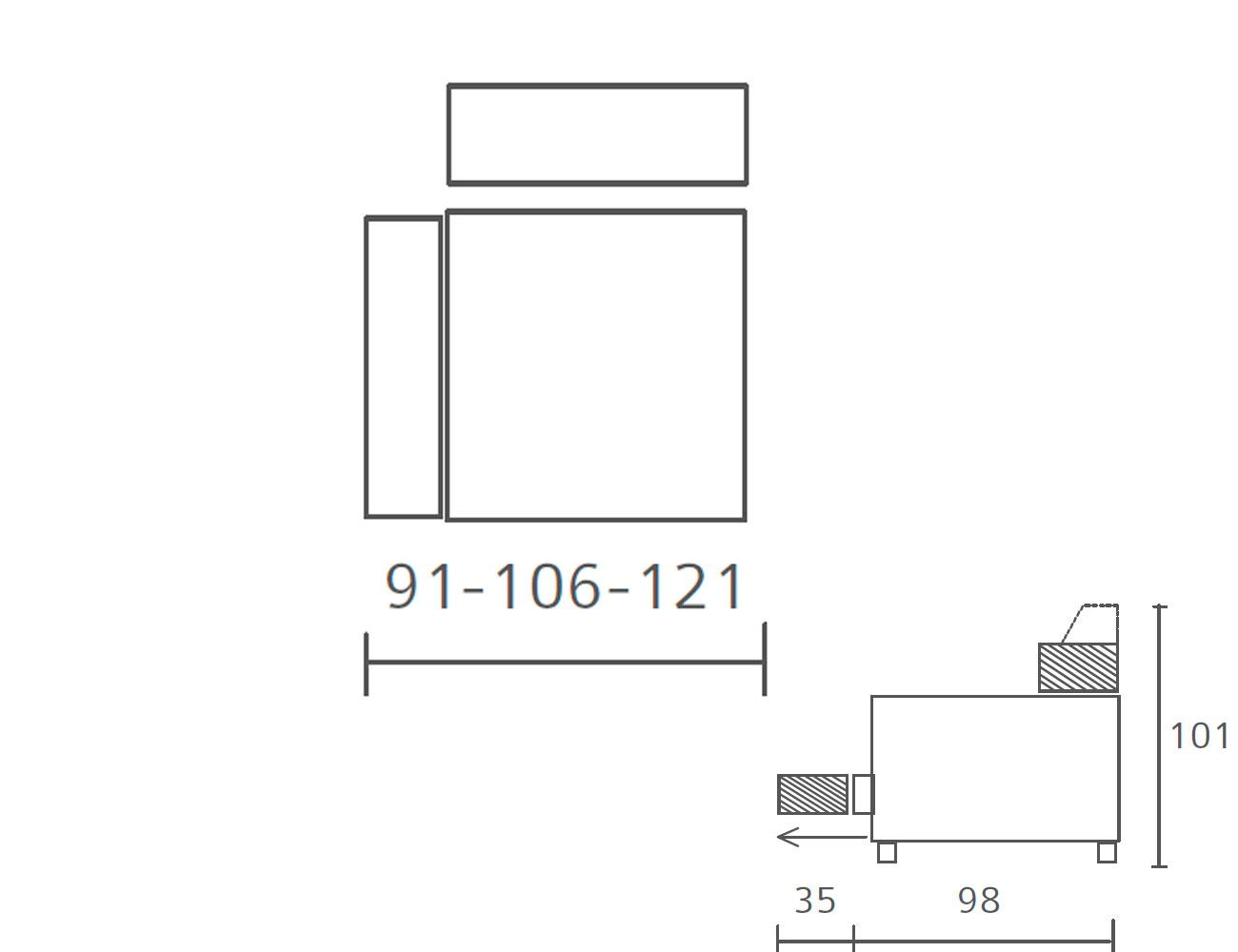 Modulo con 1 brazo 91 106 121