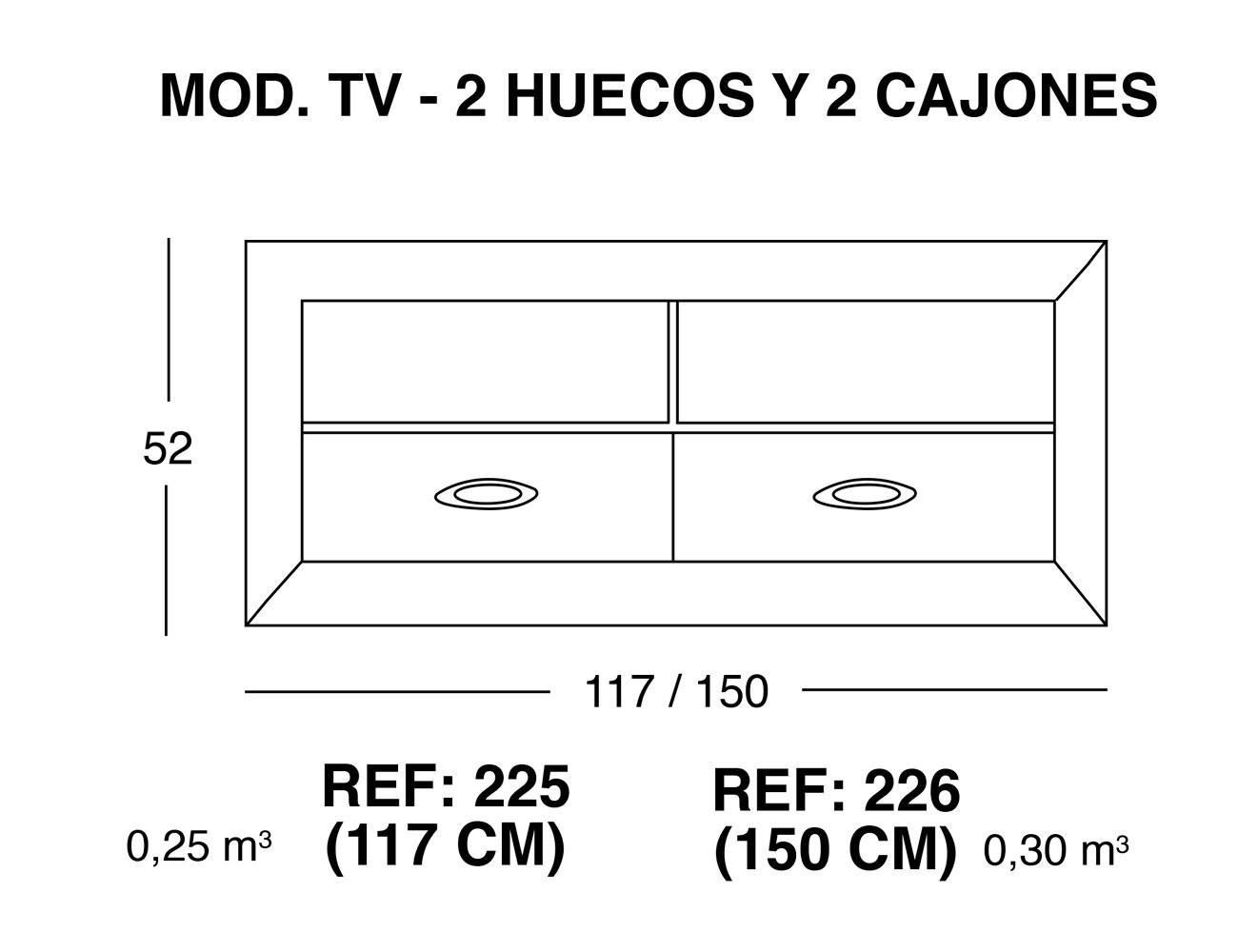 Modulo tv 2 huecos 2 cajones1