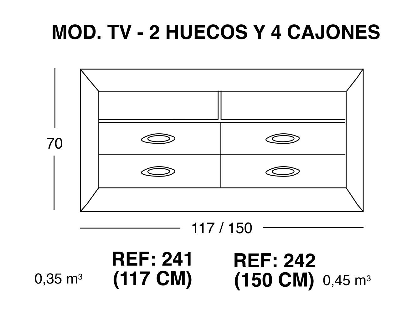 Modulo tv 2 huecos 4 cajones1