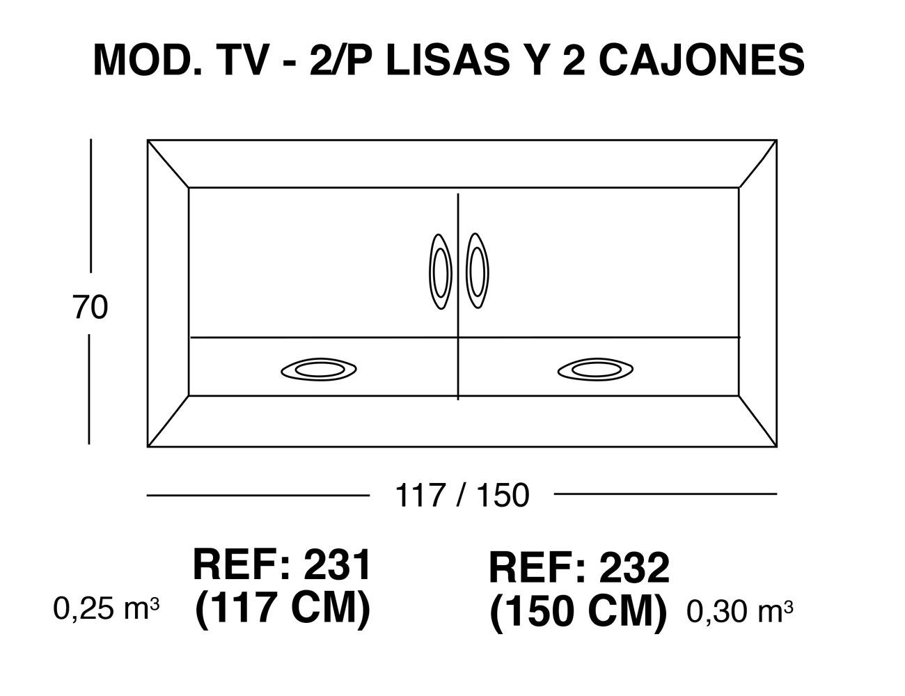 Modulo tv 2p lisas 2 cajones