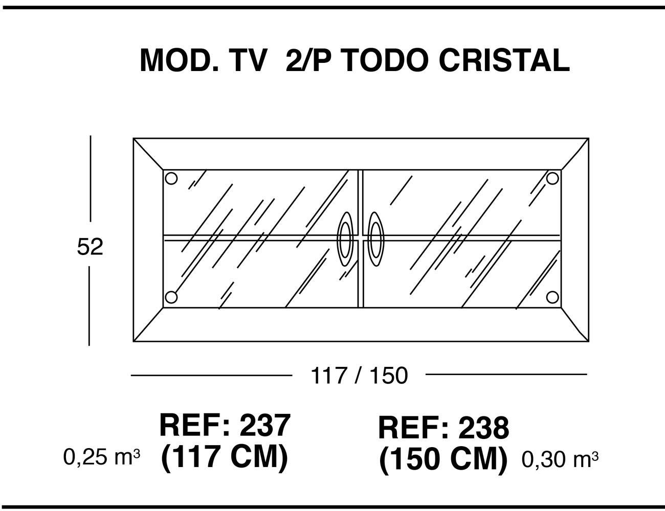 Modulo tv 2p todo cristal