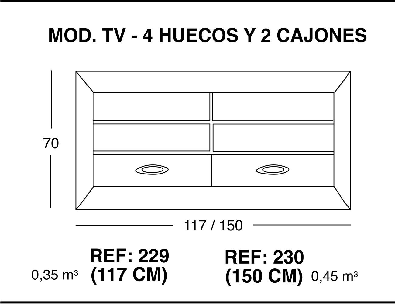 Modulo tv 4 huecos 2 cajones