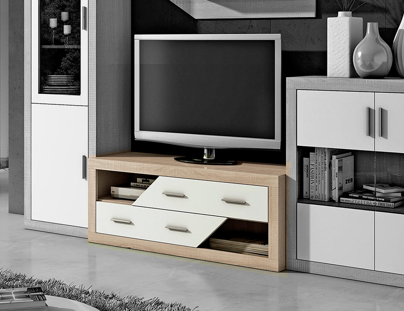 Mueble de sal n estilo moderno color cambrian blanco 240 for Mueble salon 240 cm