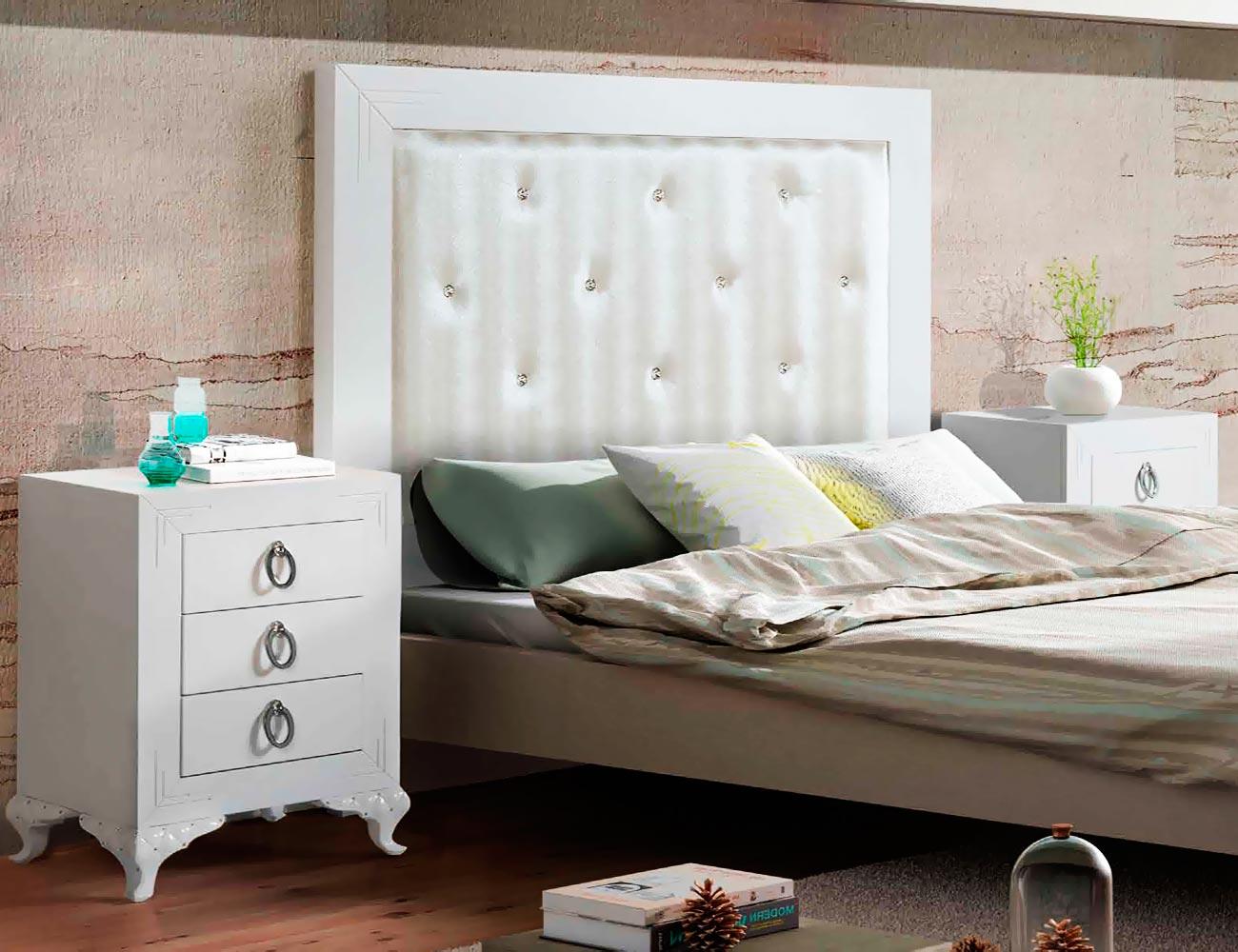 Mueble dormitorio matrimonio blanco cabecero tapizado