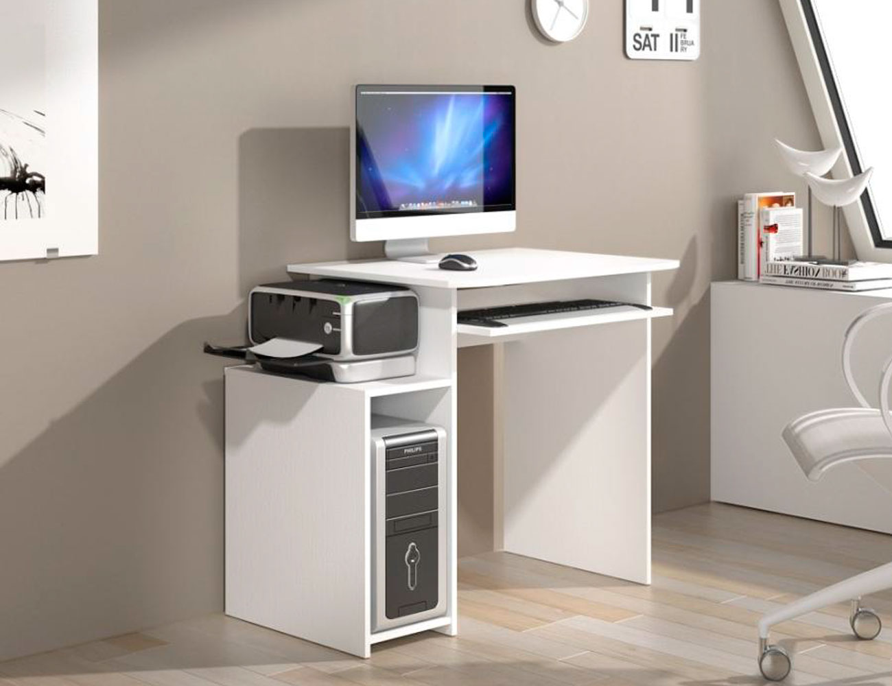 Mueble mesa pc estudio blanco