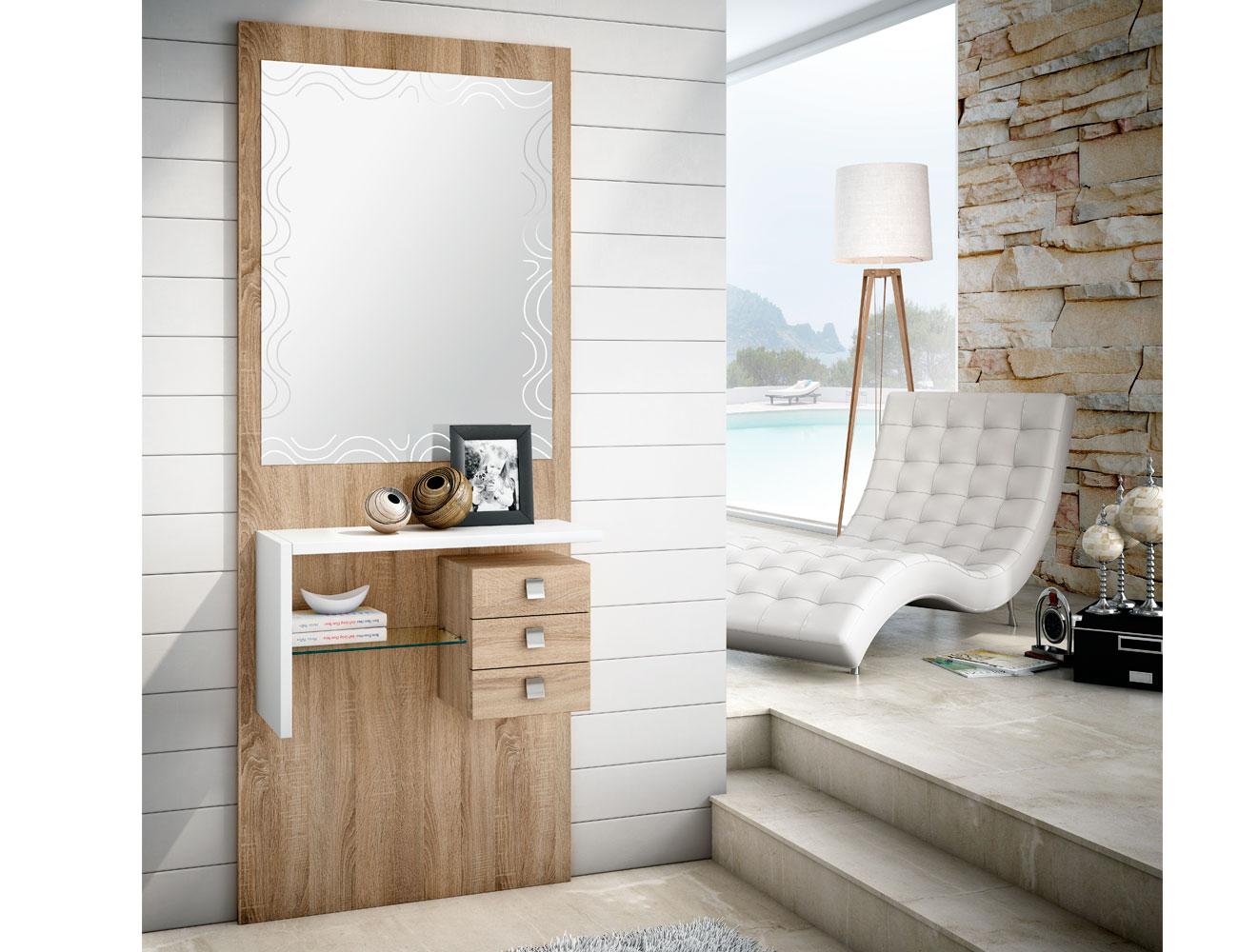 Mueble recibidor con espejo cambrian blanco 159