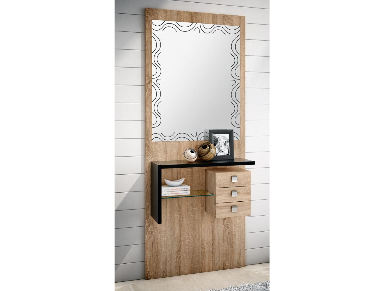 Mueble recibidor con espejo cambrian negro 159