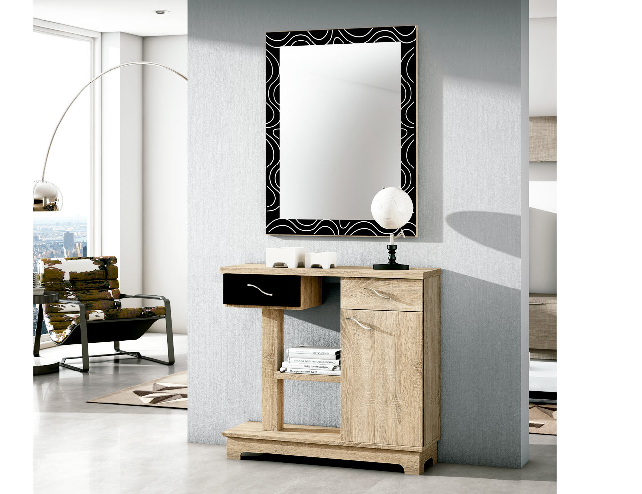 Mueble recibidor con espejo cambrian negro 66