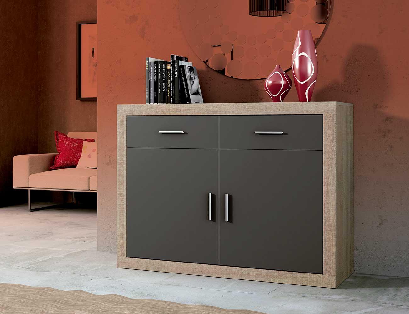 Aparador 2 puertas y 2 cajones en color cambrian con for Mueble salon 180 cm