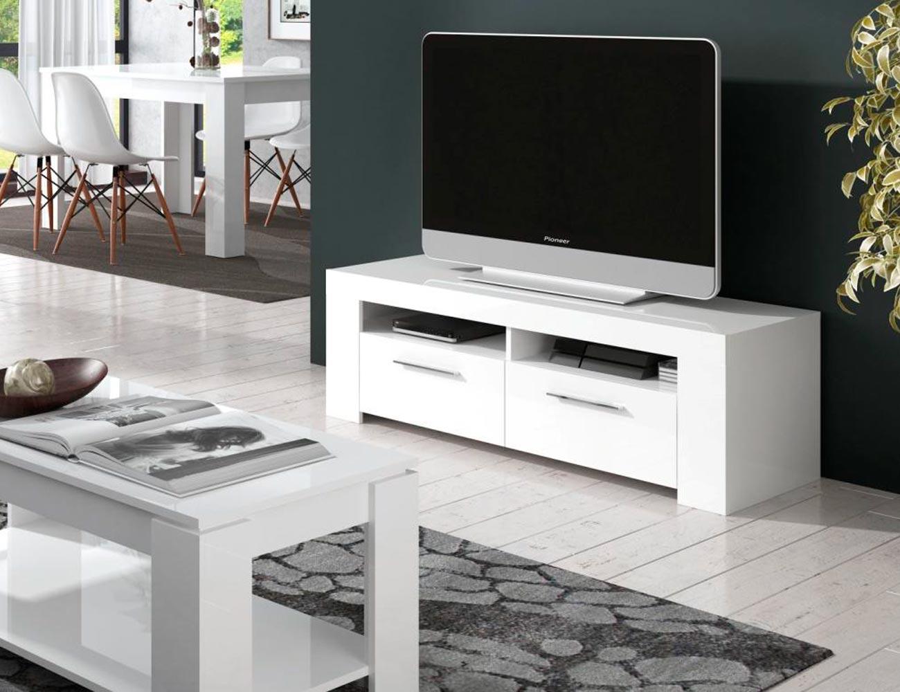 Mueble salon blanco brillo