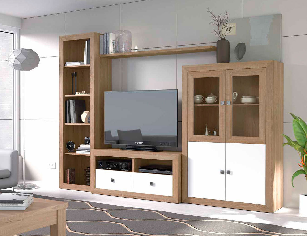 Mueble salon colonial mueble salon moderno wengue with for Mueble colonial blanco