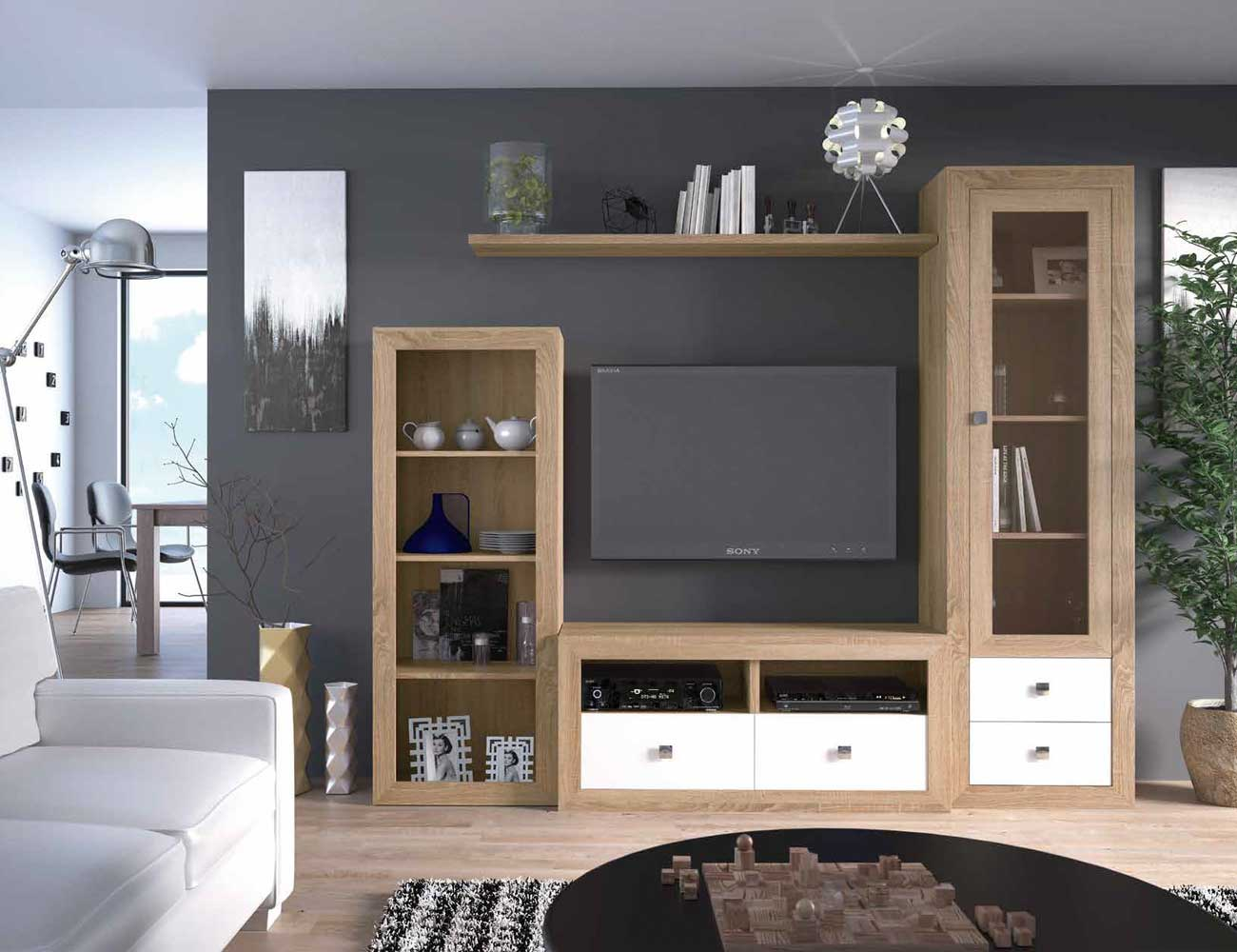 Mueble salon colonial cambrian blanco 16