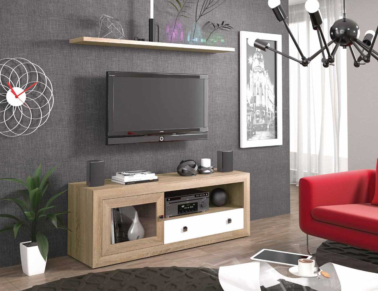 Mueble salon colonial cambrian blanco 20