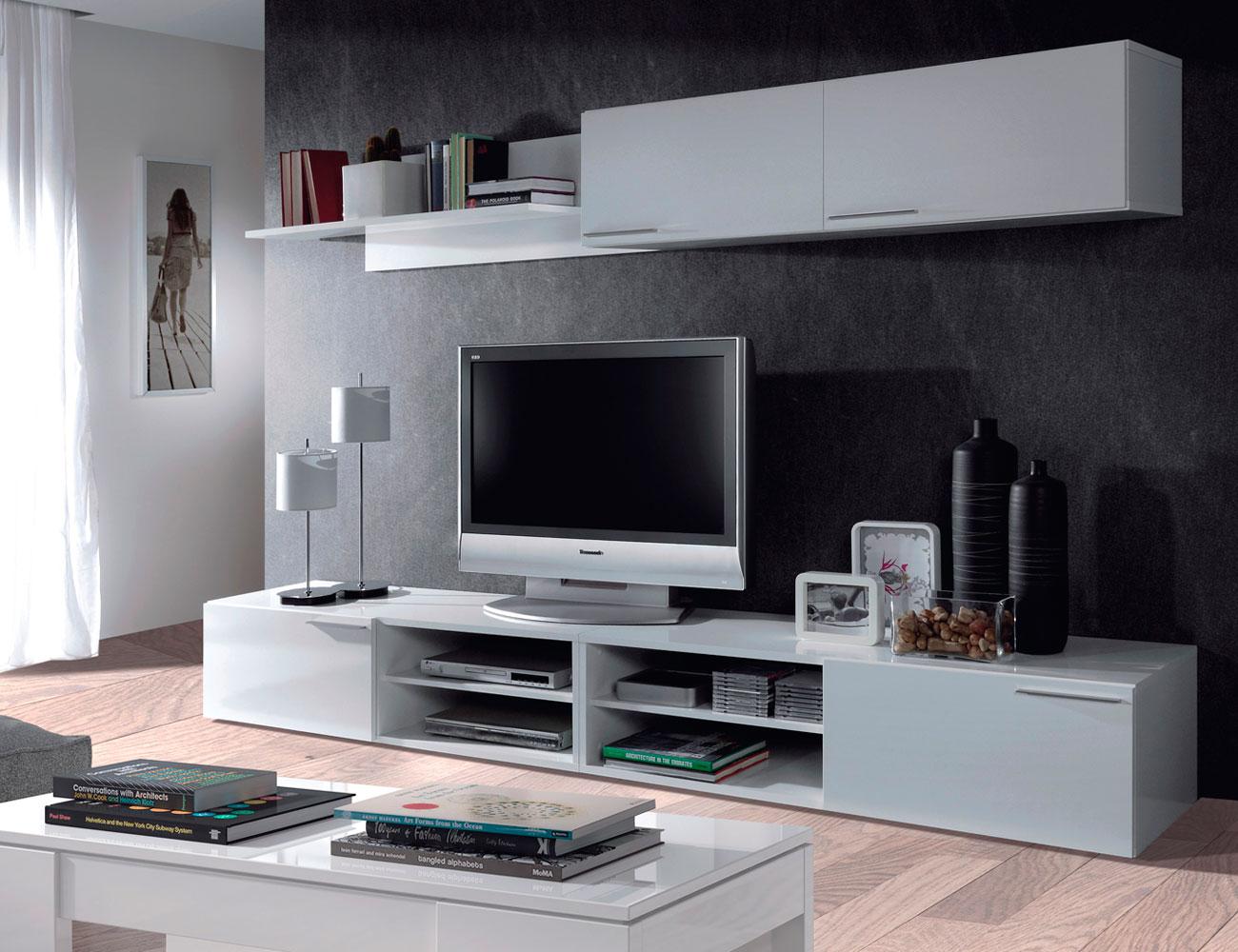 Mueble salon comedor blanco brillo 21