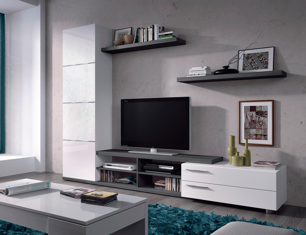 Mueble salon comedor blanco brillo gris ceniza