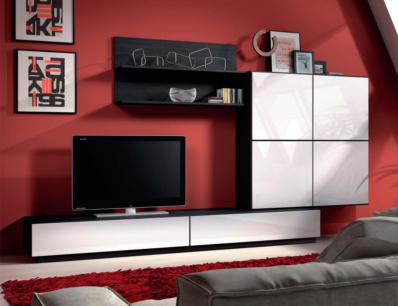 Mueble salon comedor blanco brillo negro 3