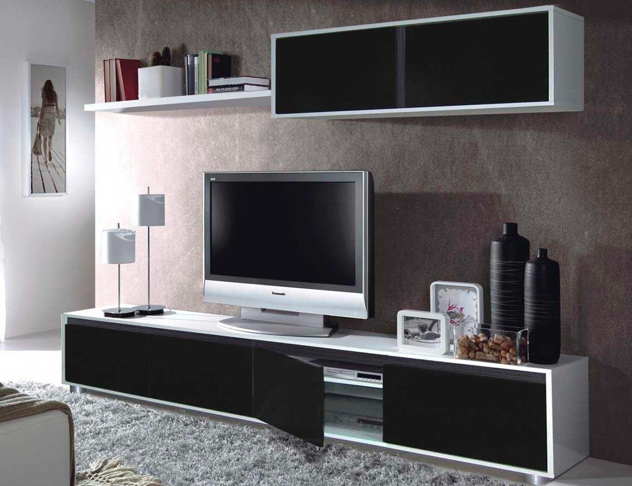 Mueble salon comedor blanco brillo negro